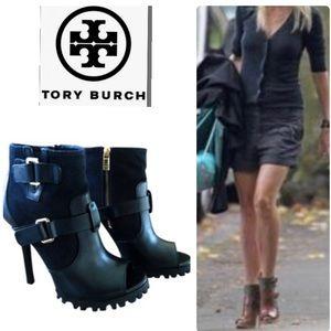 Tory Burch Black Oren Peep Toe Boots/Booties